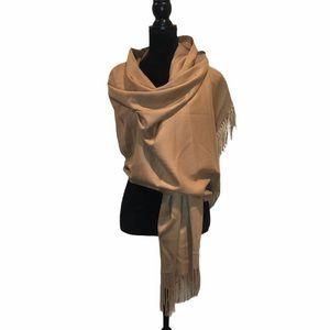 NWT Cashmere Wool blend camel color blanket scarf